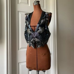 Unique Beaded Vest by Silence and Noise. EUC.